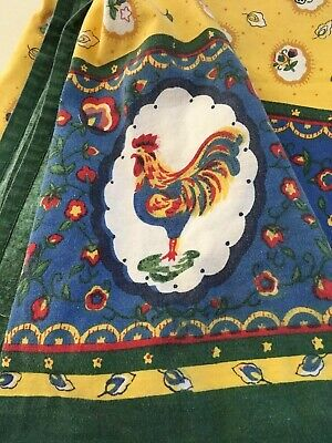 """Vintage French Country/Folk Art Yellow & Blue Rooster Cotton Tablecloth  61""""x82"""""""