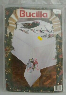 """DOVES HOLLY Christmas Stamped Embroidery KIT Tablecloth 60"""" x 90"""" NEW Vintage"""