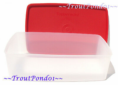 Tupperware Square Rounds Freezer Freeze It Rectangle Sheer Red Seal 5 Cups New
