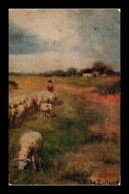 Dr Jim Stamps Us Sheep Farm Scene Signed Painting Topical Postcard