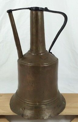 """Vtg Hand Hammered Copper Forged Iron 13"""" Pitcher Middle Eastern Wine Water Jug"""
