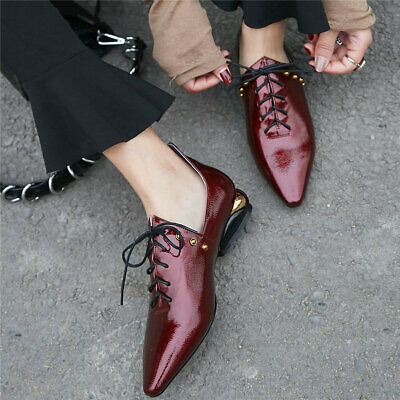 Women's Cow Leather Low Heel Ankle Boots Pointed Toe Low Top Oxfords Chic Shoes