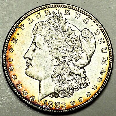 1883 Rainbow Toned Morgan Silver Dollar 90% Silver $1 Coin #A95