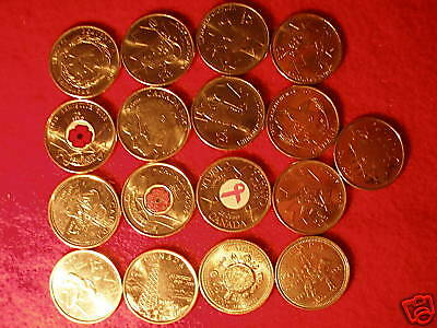 Set Of 17 Commemorative 25 Cent Coins Of Canada.