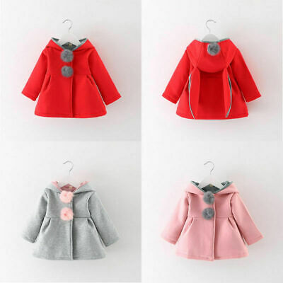 Newborn Toddler Girl Warm Winter Clothes Hooded Coat Cotton Jacket Outerwear