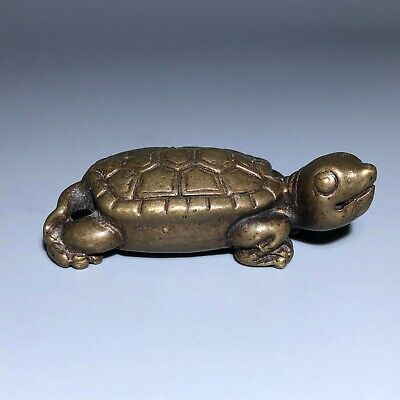 Rare Collectible Chinese Old Brass Handwork Antique Tortoise Ornament Statue