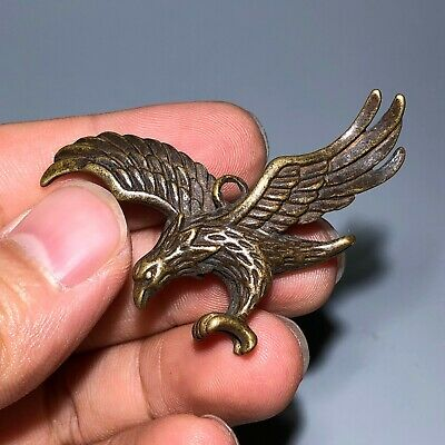 Old Brass Handwork Chinese Collectible Rare Antique Flying Eagle Pendant Statue