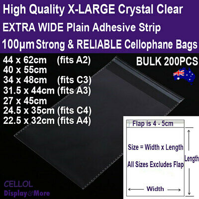 CELLO Bag Cellophane LARGE Resealable | 200pcs | Strong & RELIABLE | AUS Stock