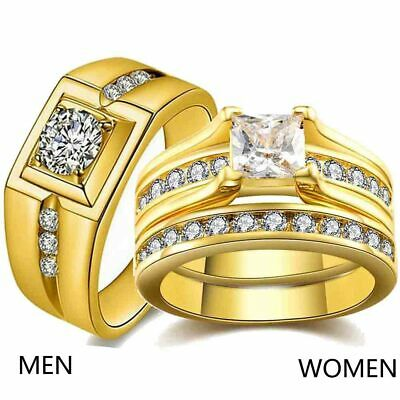 Couple Rings Yellow Gold Filled Mens Wedding Band CZ Womens Wedding Ring Sets