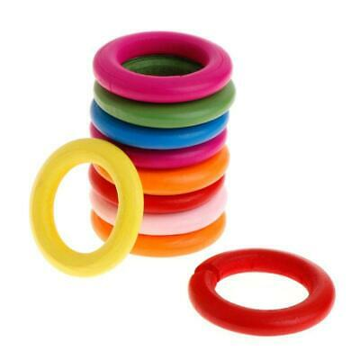 10Pcs Wooden Ring Parrot Toys Bite Chew Play Colorful Rings Decor Birds Toy DIY
