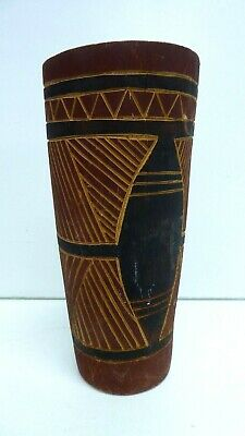 Vintage Australian Aboriginal Totem Cup Ochre Painted Carved Traditional Design