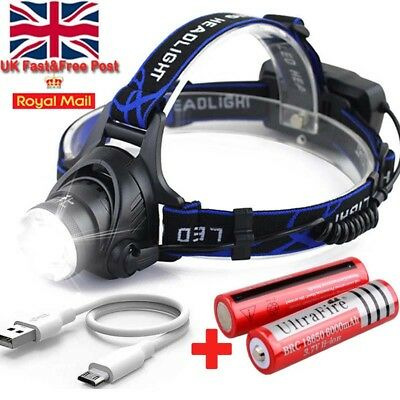 Rechargeable Tactical 120000LM T6 LED Headlamp 18650 Headlight Head Torch Light