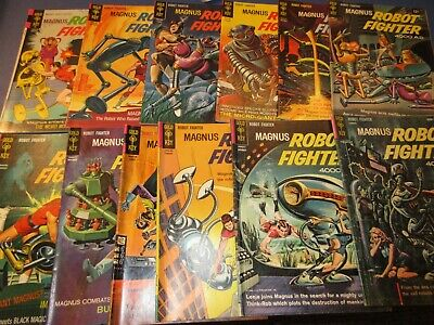 Dell Magnus Robot Fighter Silver Age lot of 12 from 1 to 30 range Good to Fine