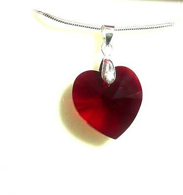 Siam Red Heart Crystal Necklace Handmade with Swarovski Elements Bridesmaid Gift