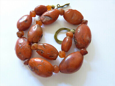 Antique Buddhist (Nan Hong) Pema Raka Beads Necklace, China - Tibet 古董西藏卡内莲珠