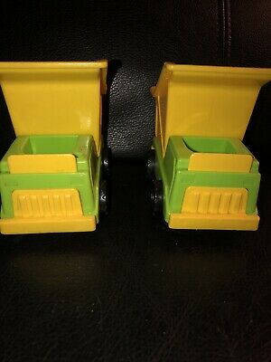 Lot 2 Vintage Fisher Price Little People Construction Dump Trucks Yellow Green