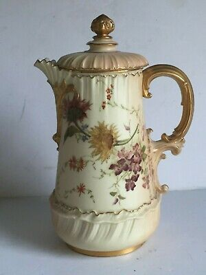 Rare Antique Royal Worcester Blush Ivory Floral Painted CHOCOLATE Pot 1893 1613