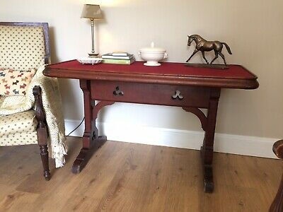 antique Victorian mahogany Pine console table Gothic Desk Trefoil Design Library