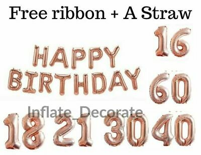 """16"""" Rose gold Happy Birthday 16/18/21st/30/40/50/60th Decoration Banner Balloons"""