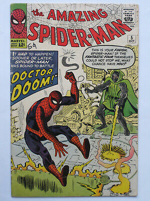 AMAZING SPIDER MAN # 5  US MARVEL 1963 Dr Doom app Stan Lee Steve Ditko VG/VG+
