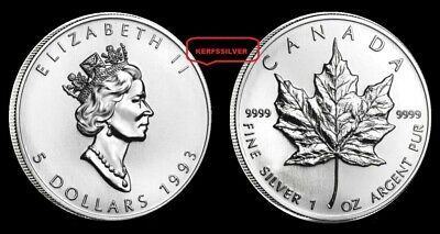 1993  Maple Leaf Canadian  1 Oz.  Silver Coin  {Unc}  .9999  Fine Silver Bullion