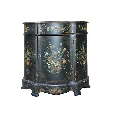 Chinese Oriental Black Gold Lacquer Flower Graphic Side Table cs5307