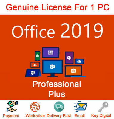 Microsoft® Office 2019 Professional Plus Original Product Key License Code