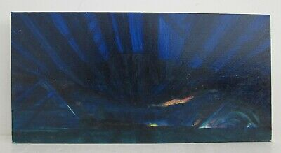 Modern Abstract Atmospheric Acrylic Painting on Canvas 'Futurist Seascape' 12x24