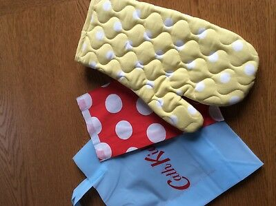 Cath Kidston Yellow Button Spot Oven Mitt New With Gift Bags