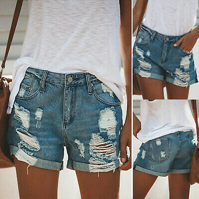 Womens High Waisted Ripped Denim Shorts Jeans Summer Casual Baggy Fit Hot Pants