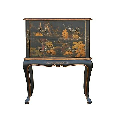 Chinese Oriental Black Gold Lacquer Scenery Graphic Credenza Side Table cs5308