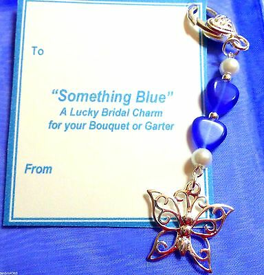 """Good Luck """"Something Blue"""" Butterfly Charm for Bouquet/Garter +Gift Card & Bag"""