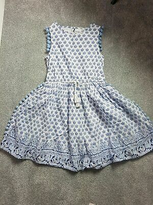 NEXT Girls White Blue Summer Holiday Party Casual Pom Pom Dress Size 9 Years