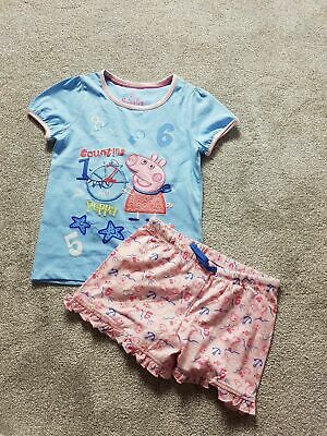 M&S Peppa Pig Girls Shorts Short Sleeve Top Pyjama Nightwear Set Size 6-7 Years