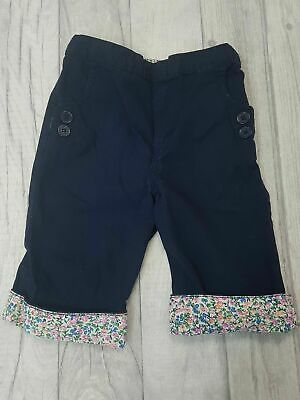 JoJo Maman Bebe Girls Navy Blue 3/4 Length Floral Hem Trousers Size 3-4 Years