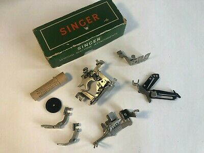 Vintage Singer Sewing Machine Attachments In Box And Extras