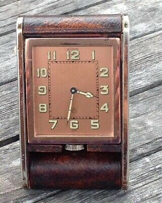 1940's Jaeger LeCoultre ROSE GOLD & Leather 8 DAY Travel Alarm Desk Clock NICE!