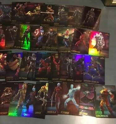 Set of Marvel Contest Of Champions Arcade Game Dave Busters All 75 Cards FOIL