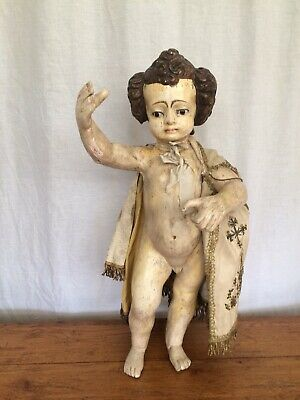 Continental Religious Carved Wooden Figure Of Child Mid 19th Century