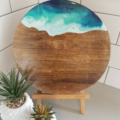 """Made to order """"Take me to the beach"""" 30cm Resin and timber cheese board $40"""
