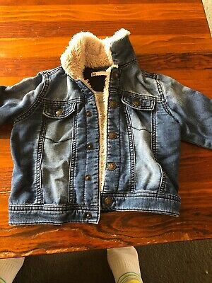 Girls Size 18-24 Mths Target Soft Denim Jacket With Fluffy Trim GUC