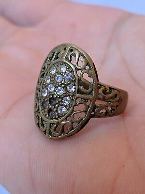 Ancient Roman Ring Bronze Artifact Old Legionary Stuning Stones Extremely Rare
