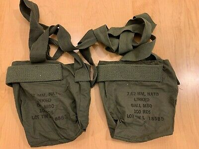 Two Vietnam War US Army Ammo Pouches 7.62 mm NATO Linked Ball M80 Dated May 1969