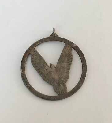 Vintage Jewelry Wallace Sterling Silver 1975 Eagle Circle Pendant - 28.5 Grams