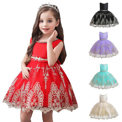 Flower Girl Kids Halloween Lace Princess Tutu Dress Pageant Prom Ball Cosplay