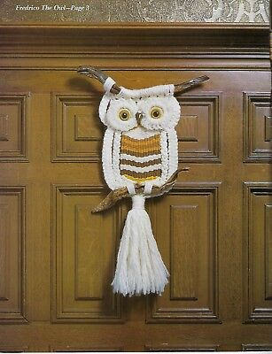 Vintage 1970's Macrame Gold Craft Book #895 Driftwood Owl Wall Hanging Pattern