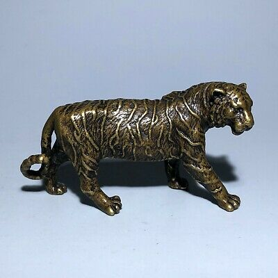 Chinese Zodiac Collectible Solid Brass Fierce Tiger Handwork Old Vintage Statue
