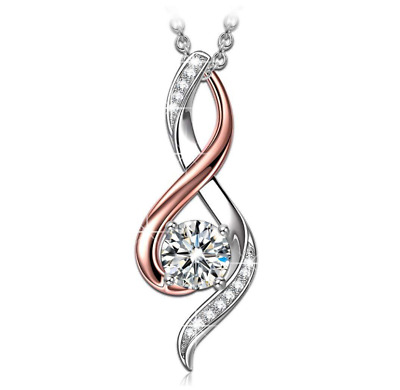 Sterling Silver Rose Gold Two Tone Mother & Child Cubic Zirconia CZ Necklace K72