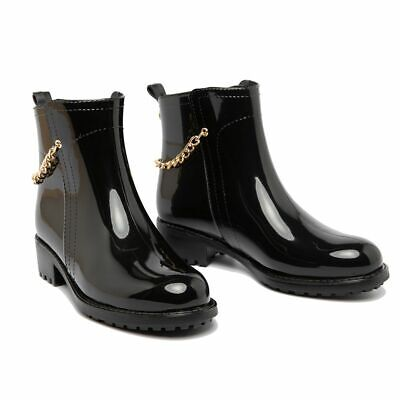 Fashion Ankle Rain Boots Waterproof Women Chains Slip On Glossy Girls Footwear