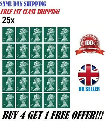 Royal Mail 1St 2Nd Class 25 X 2P Postage Stamps Self Adhesive No Unfranked